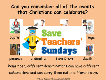 Christian Celebrations Lesson Plan and Worksheets / Activity