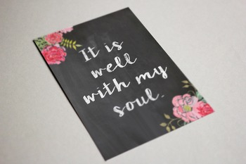 Christian Chalkboard Wall Art Well With My Soul 8x10, 11x14