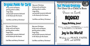 Christian Christmas Card-Making Kit! Poems, Pictures, Text, & Characters!