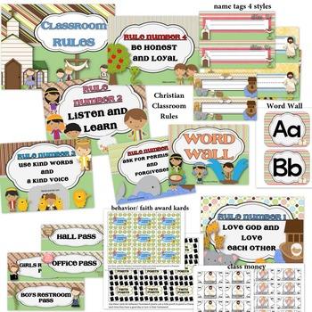 Christian Classroom Decorations MEGA bundle-Editable!