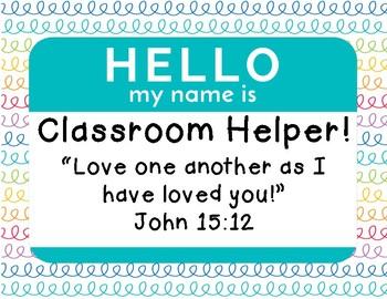 Christian Classroom Jobs Chart