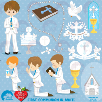 Christian Clipart, First Communion, Boys, Catholic clipart, Catechism, AMB-1262