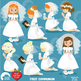 Christian Clipart, First Communion, Girls, Catholic clipart, Catechism, AMB-1255