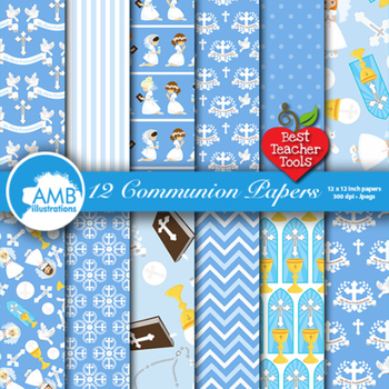 Christian Digital Papers, First Communion, Girls, Catholic, Catechism, AMB-1258