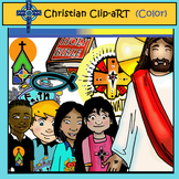 Freebie Christian Color Clip Art: Jesus with Children