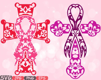 Christian Cross Breast Cancer Feathers Awareness ribbon clipart Jesus Bible 524s