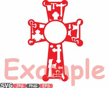 Christian Cross Circle Jesus religious monogram Clipart Bible sign God 526s