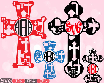 Christian Cross Circle Jesus religious monogram Clipart Bi
