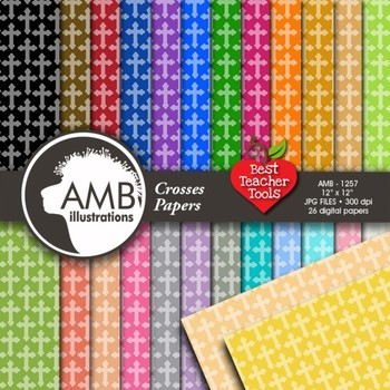 Christian Cross Digital Papers {Best Teacher Tools}, AMB-1257