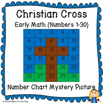 Christian Cross Early Math (Numbers 1-30) Number Chart Mystery Picture
