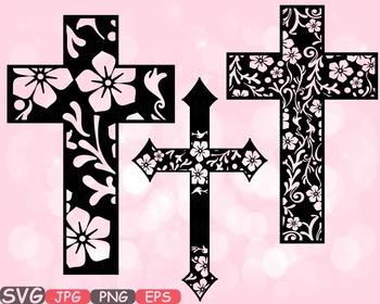 Christian Cross Jesus clipart crosses religious flower Hope Faith Rejoice -485s