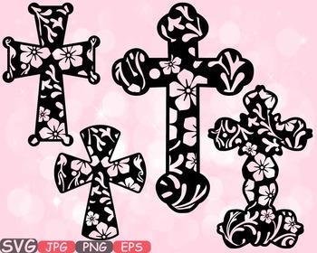 Christian Cross Jesus clipart crosses religious flower Hope Faith Rejoice -512s