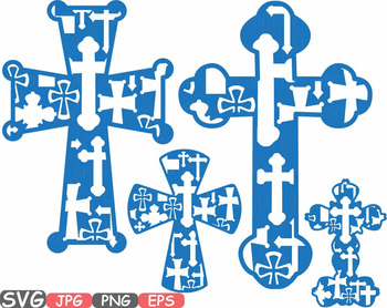 Christian Cross SVG Jesus Cross religious monogram clipart Bible sign God-513s