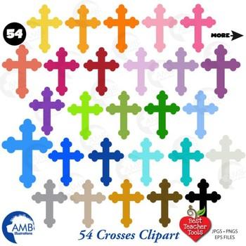 Christian Crosses Clipart Multiple Colors, {Best Teacher Tools} AMB-1256