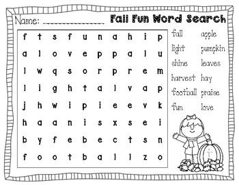 Christian Fall Fun Word Search