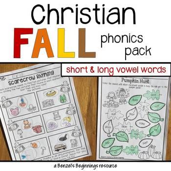 Christian Fall Phonics Pack {short & long vowel words}