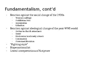 Christian Fundamentalism and the Scopes Monkey Trial - 1920s - PowerPoint