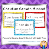 Christian Growth Mindset Posters (BRIGHT BOLD CHEVRON) with Bible Verses