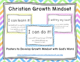 Christian Growth Mindset Posters (SOFT PASTEL CHEVRON) with Bible Verses