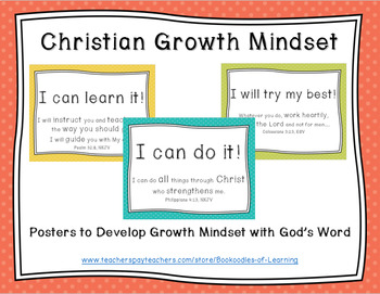 Christian Growth Mindset Posters (SOFT POLKA DOTS) with Bible Verses