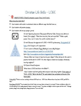 Christian Life Skills - LOVE Lesson Plan and Worksheets