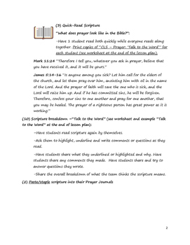 Christian Life Skills: Prayer - Lesson Plan
