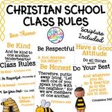 Christian School Biblical Class Rules Bee Theme FREEBIE