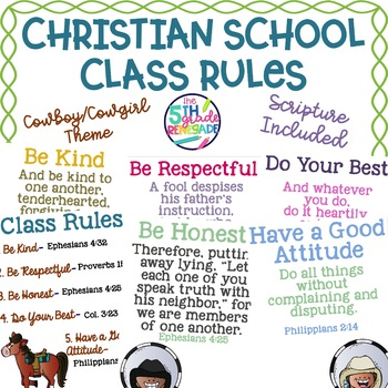Christian School Biblical Class Rules Cowboy Theme