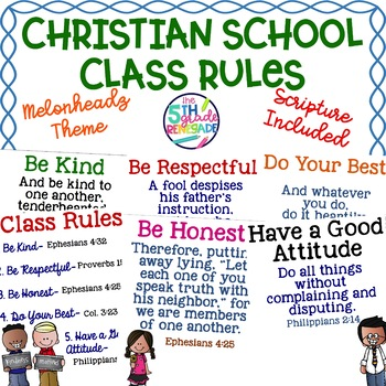 Christian School Biblical Class Rules Cute Kids Theme