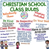Christian School Biblical Class Rules Cute Kids Theme