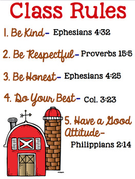Christian School Biblical Class Rules Farm Theme
