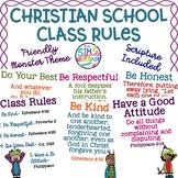 Christian School Biblical Class Rules Friendly Monster Theme
