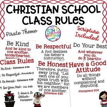 Christian School Biblical Class Rules Pirate Theme