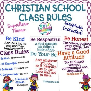 Christian School Biblical Class Rules SuperheroTheme
