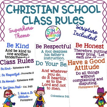 Christian School Biblical Class Rules Superhero Theme
