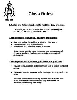Christian School Class Rules