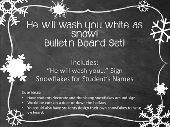 Christian Snow Bulletin Board Set.  He will wash you white as snow.  Winter