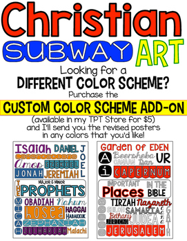 Christian Subway Art Posters Custom Color-Scheme Add-on