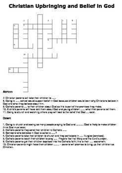 Christian Upbringing and Belief in God Crossword