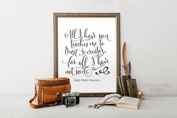 Christian quote poster | Ralph Waldo Emerson quote printable | 16x20 11x14 8x10