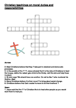 Christian teachings on moral duties and responsibilities crossword