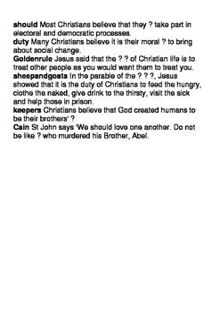 Christian teachings on moral duties and responsibilities crossword
