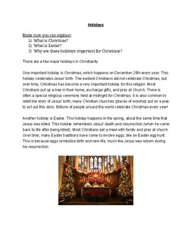 Christianity Beliefs Class Materials (World Religions)