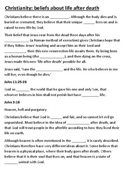 Christianity Beliefs about life after death Cloze Activity