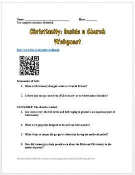 Christianity: Inside a Church Webquest