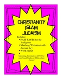 Christianity Islam Judaism Fast Facts and Worksheets