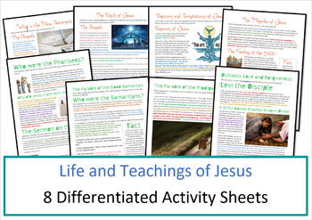 Christianity: Life and Teachings of Jesus Worksheets