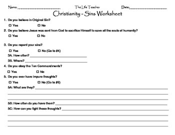 Christianity - Sin Worksheet