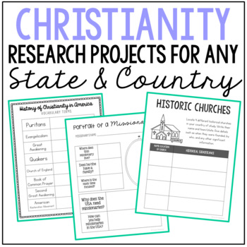 Christianity in the United States of America Notebook Journal Project {EDITABLE}