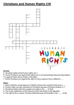 Christians and Human Rights Crossword